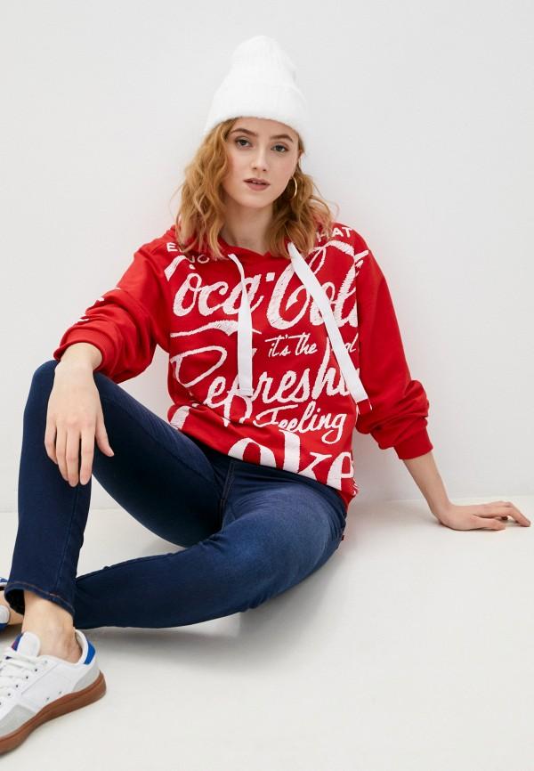 женские худи coca cola jeans, красные