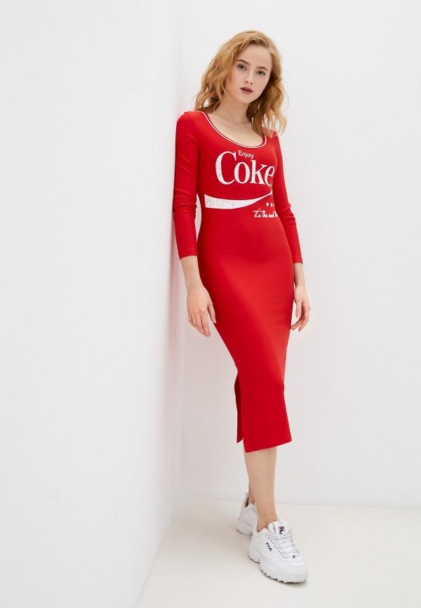 женское повседневные платье coca cola jeans, красное