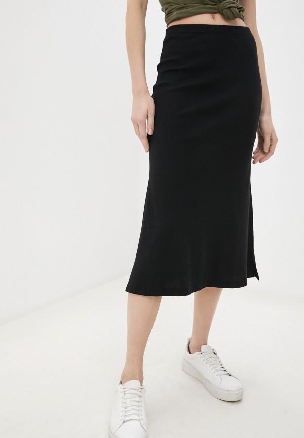 женская прямые юбка coca cola jeans, черная