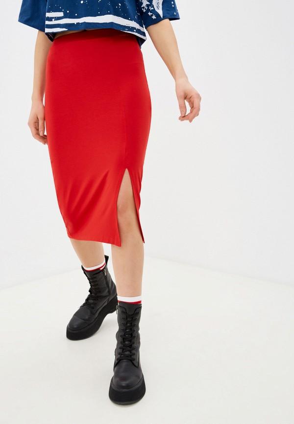 женская зауженные юбка coca cola jeans, красная