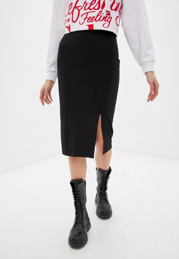 женская зауженные юбка coca cola jeans, черная