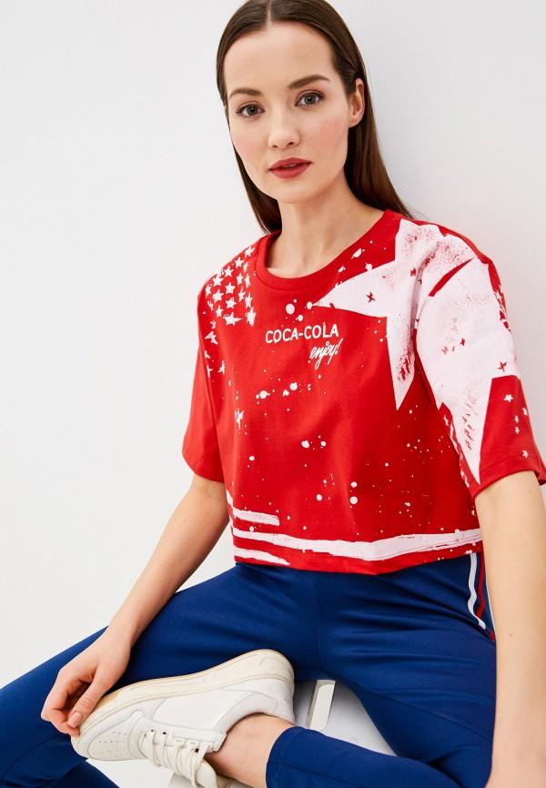 женская футболка coca cola jeans, красная