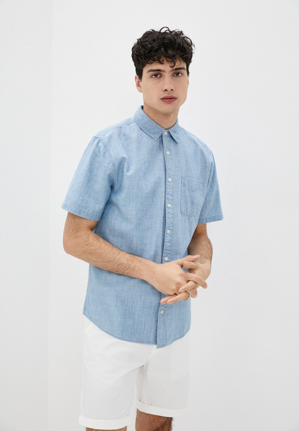 мужская рубашка с коротким рукавом cotton on, голубая