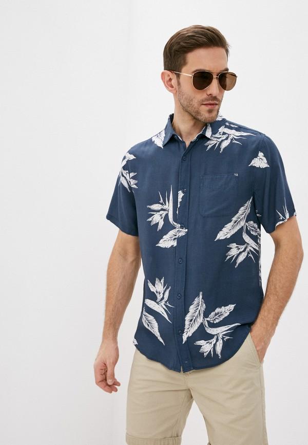 мужская рубашка с коротким рукавом cotton on, синяя