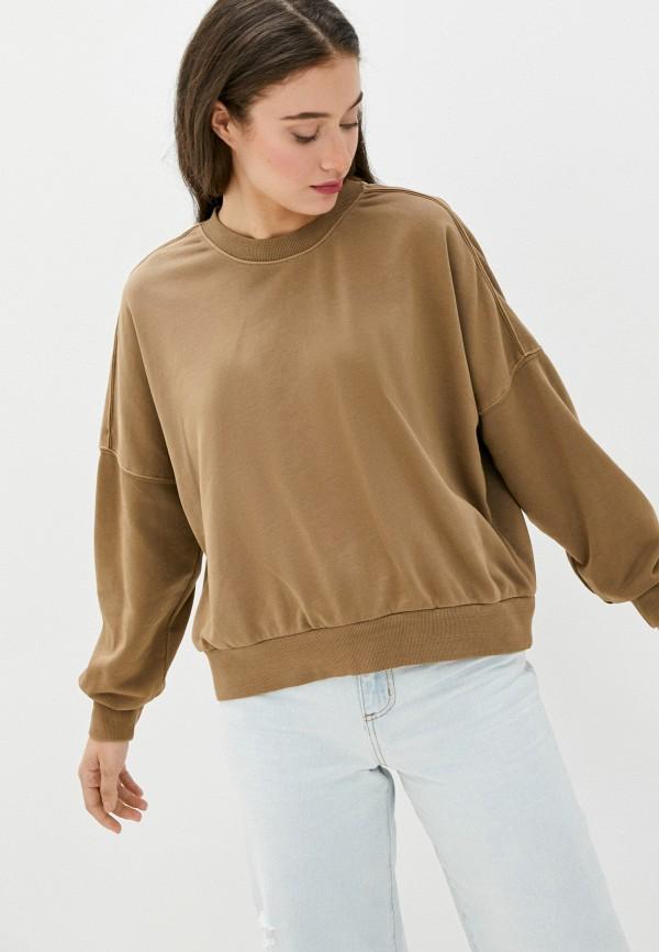 женский свитшот cotton on, коричневый