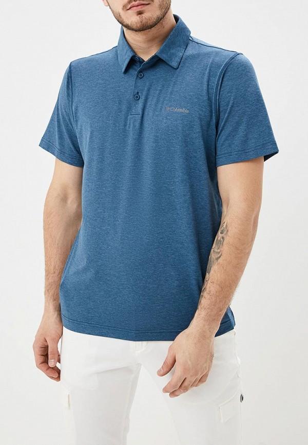 мужское поло columbia, синее