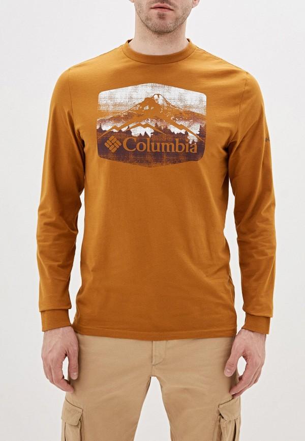 мужской лонгслив columbia, коричневый