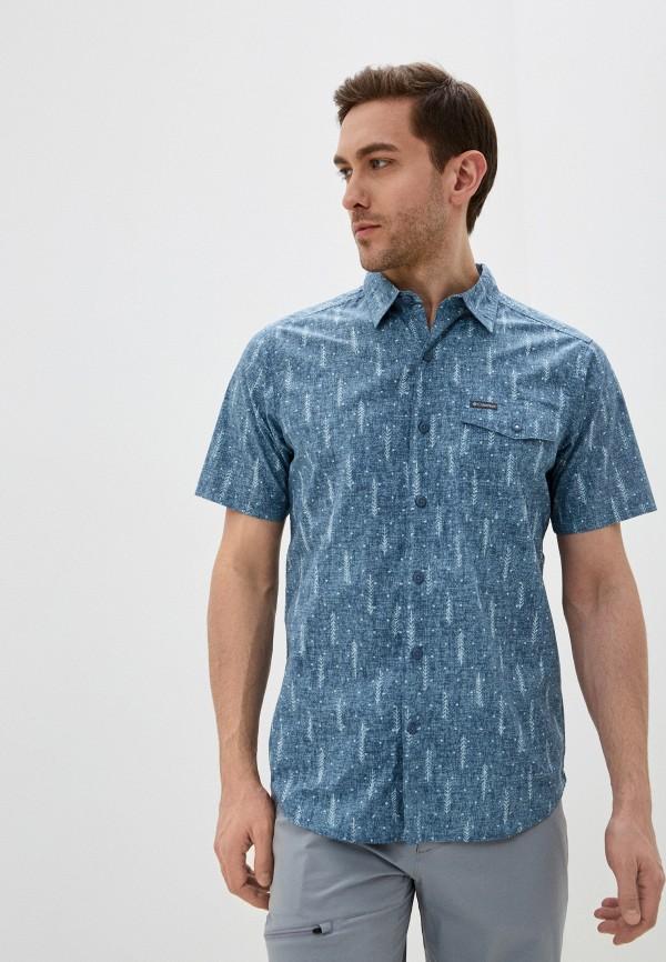 мужская рубашка с коротким рукавом columbia, синяя