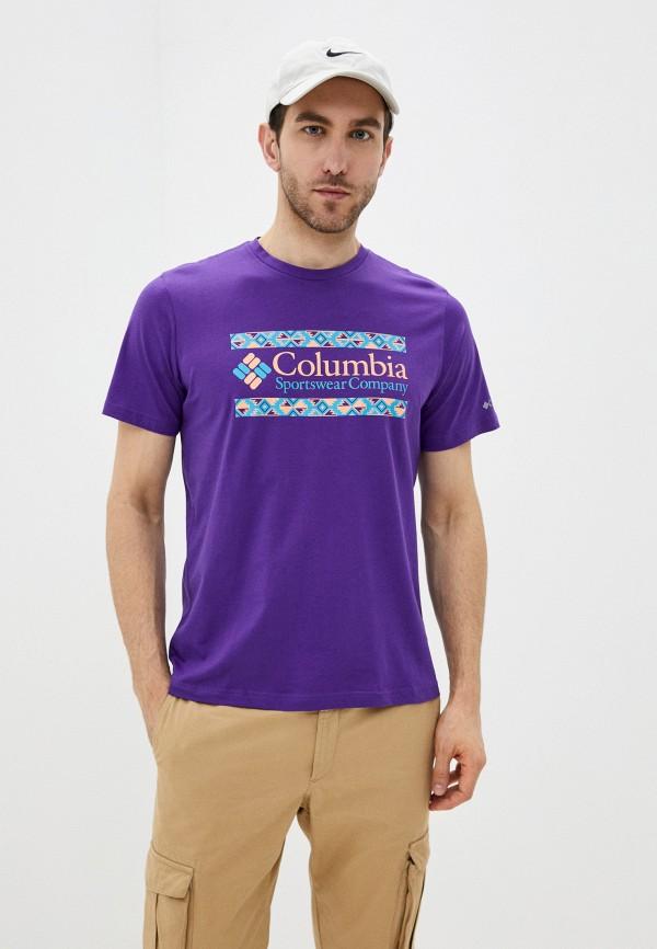 мужская спортивные футболка columbia, фиолетовая