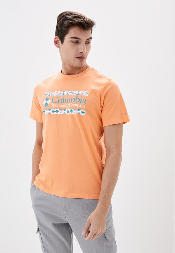 мужская спортивные футболка columbia, оранжевая