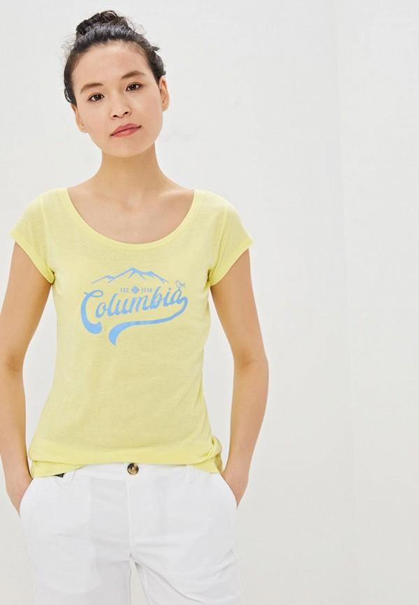 женская спортивные футболка columbia, желтая