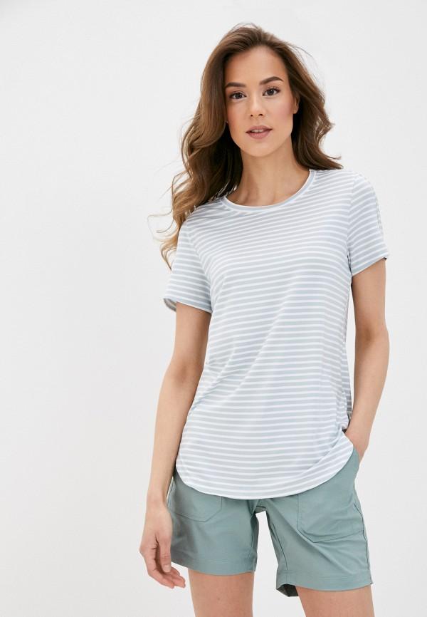 женская спортивные футболка columbia, голубая