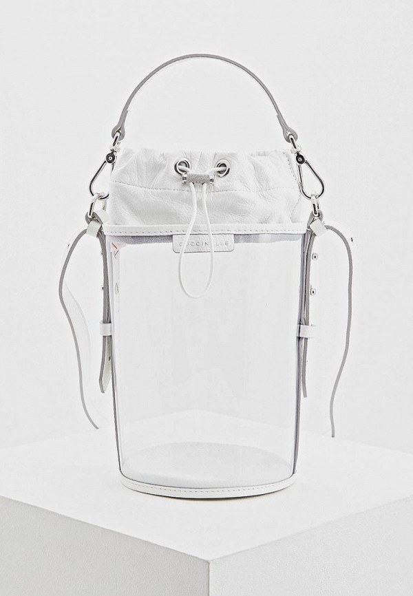 женская сумка-ведро coccinelle, белая