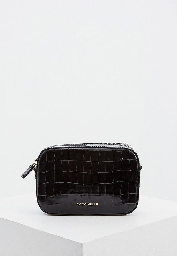 женская сумка через плечо coccinelle, черная