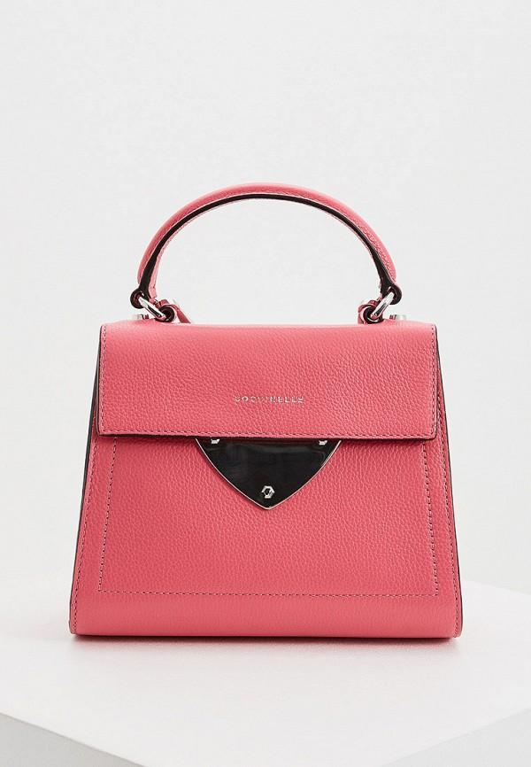 женская сумка через плечо coccinelle, розовая