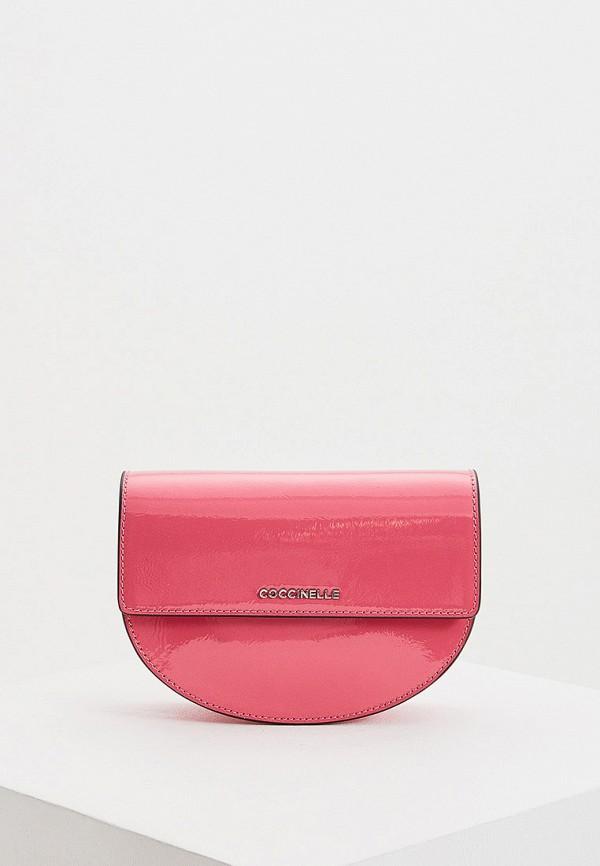 женская поясные сумка coccinelle, розовая