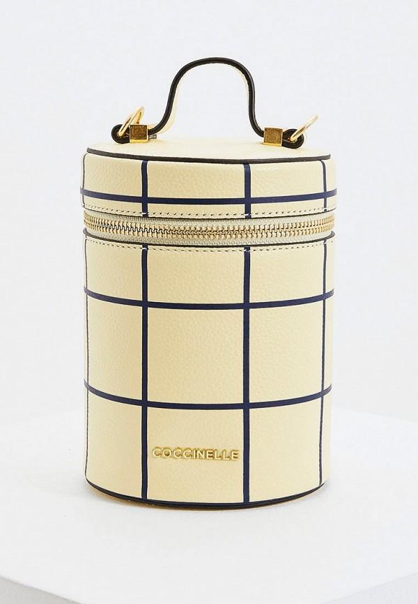 женская сумка через плечо coccinelle, желтая