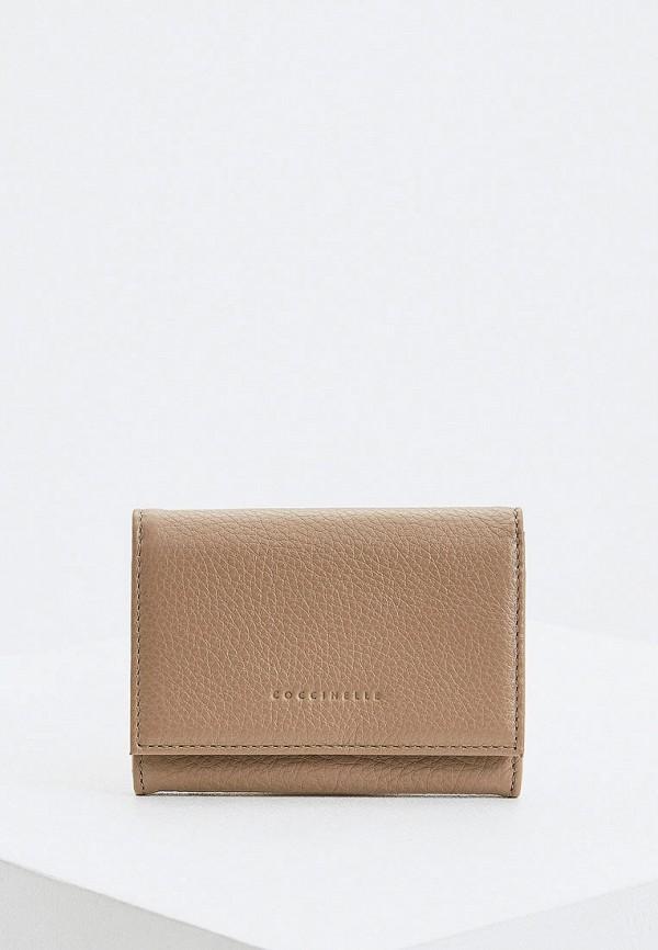 женский кошелёк coccinelle, бежевый