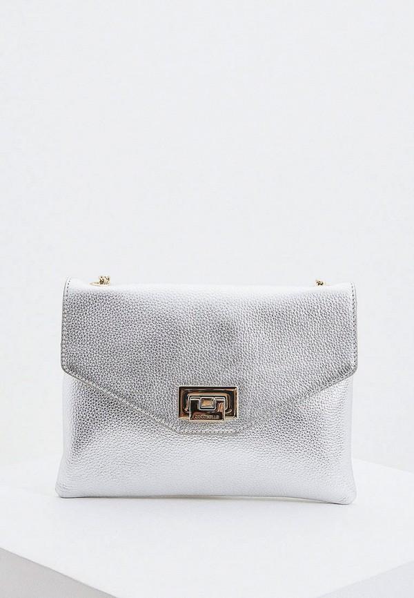 женская сумка coccinelle, серебряная