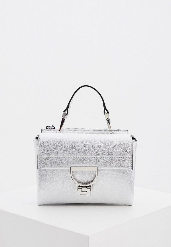 женская сумка через плечо coccinelle, серебряная