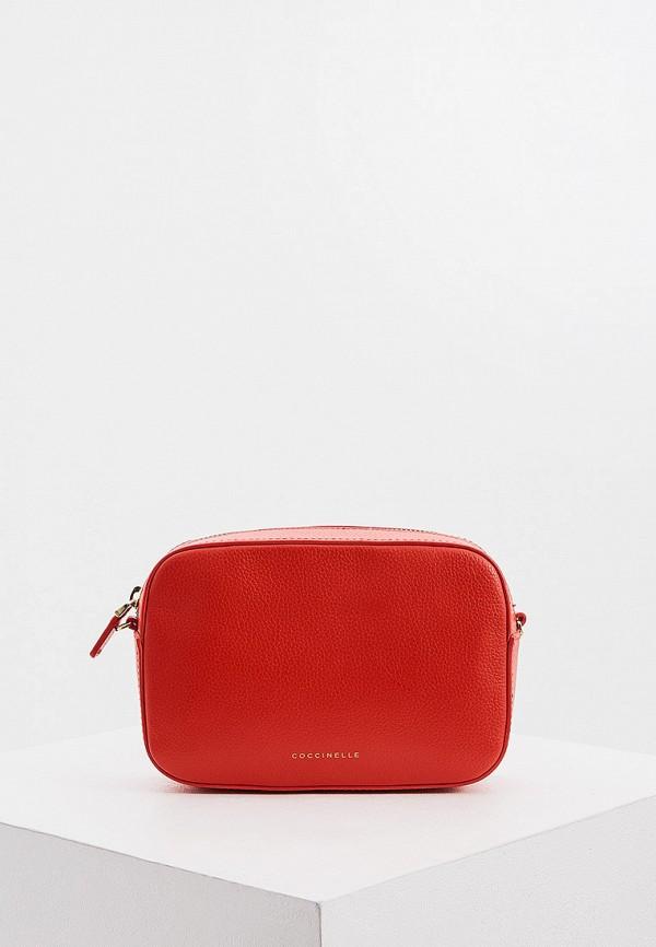 женская сумка coccinelle, красная