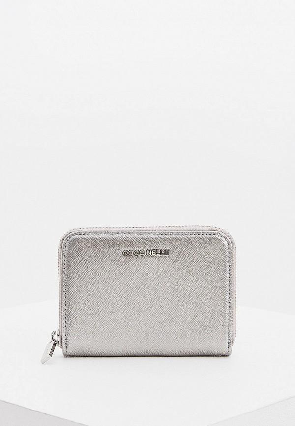 женский кошелёк coccinelle, серебряный