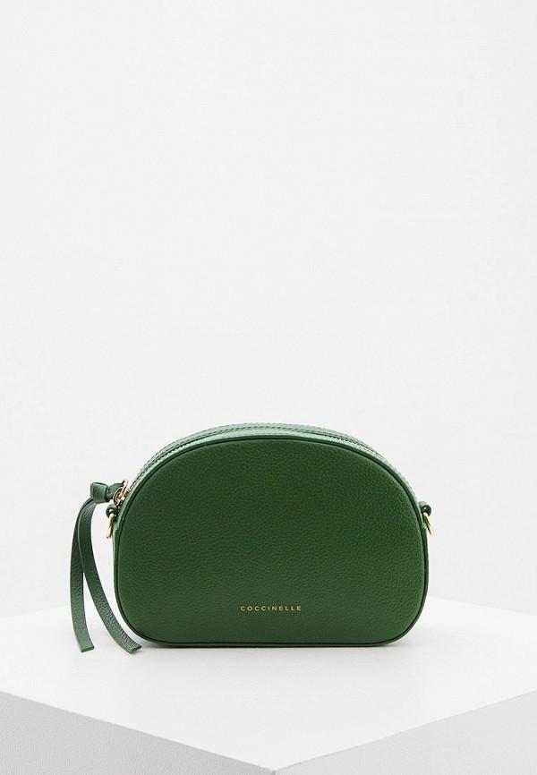 женская сумка через плечо coccinelle, зеленая