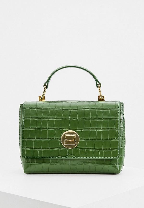 женская сумка с ручками coccinelle, зеленая