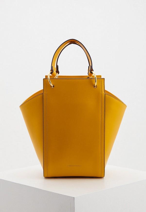 женская сумка-ведро coccinelle, желтая