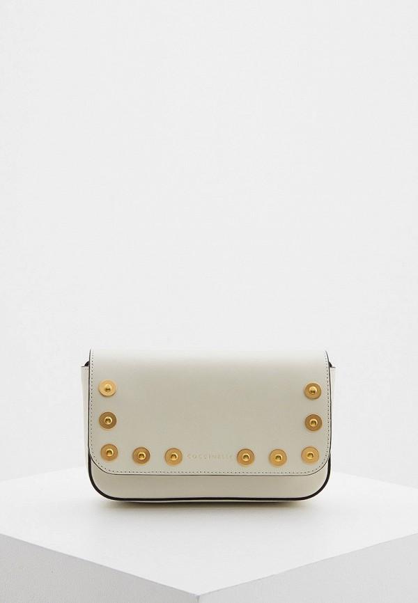 женская сумка через плечо coccinelle, белая