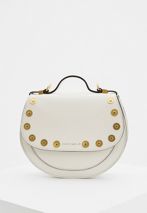 женская сумка с ручками coccinelle, белая