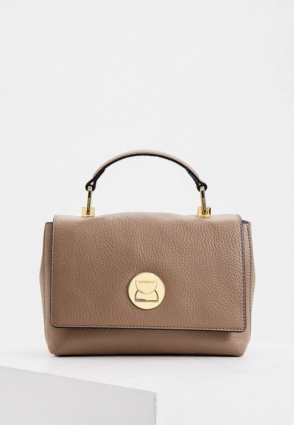 женская сумка coccinelle, бежевая