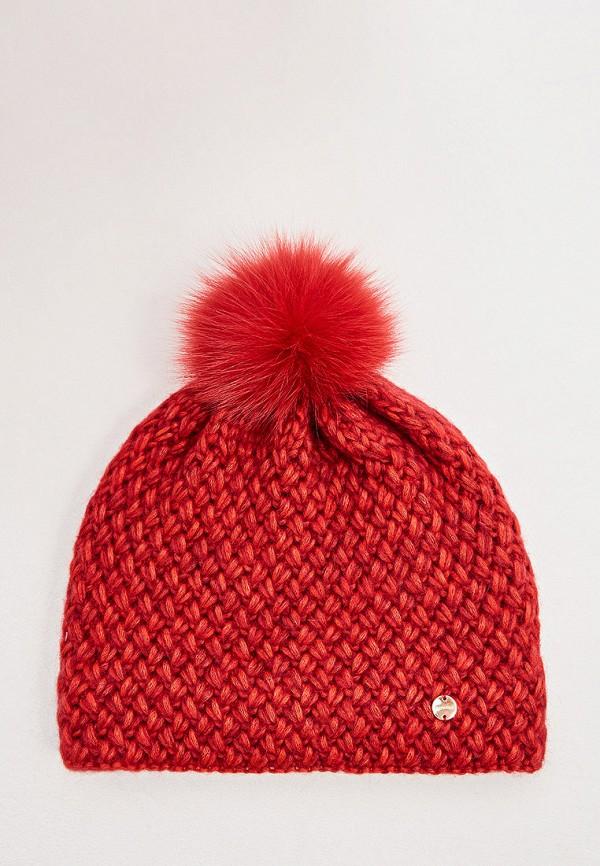 женская шапка coccinelle, красная