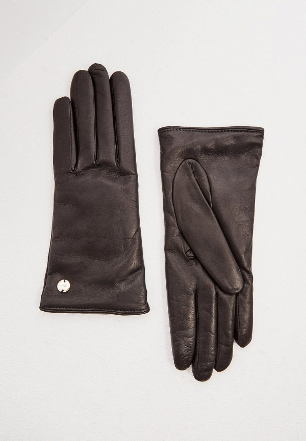 женские кожаные перчатки coccinelle, черные
