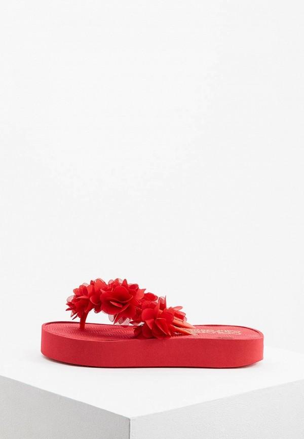 женские сланцы colors of california, красные
