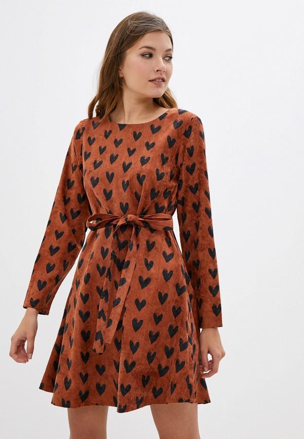 женское повседневные платье compania fantastica, коричневое