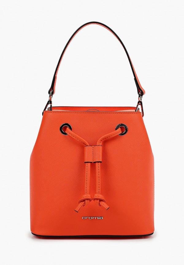 женская сумка-ведро cromia, оранжевая