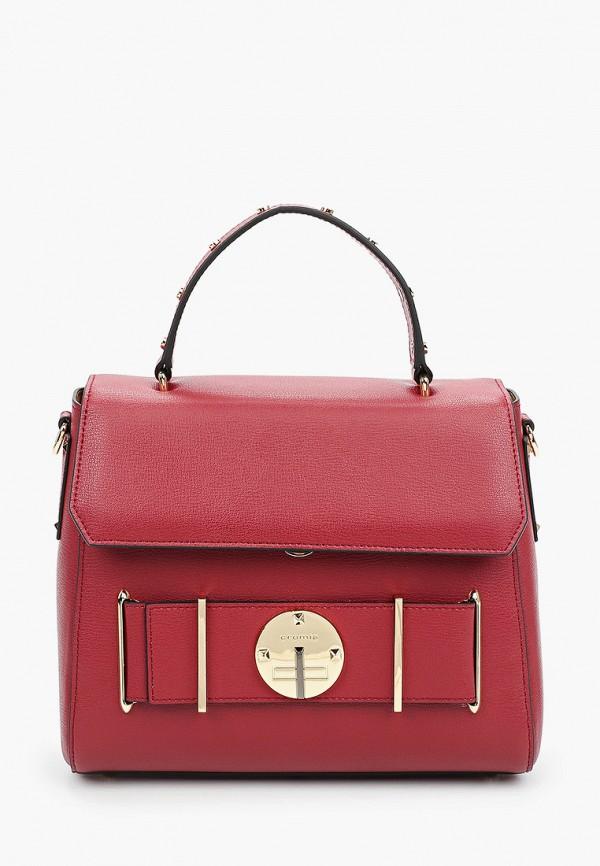 женская сумка с ручками cromia, бордовая
