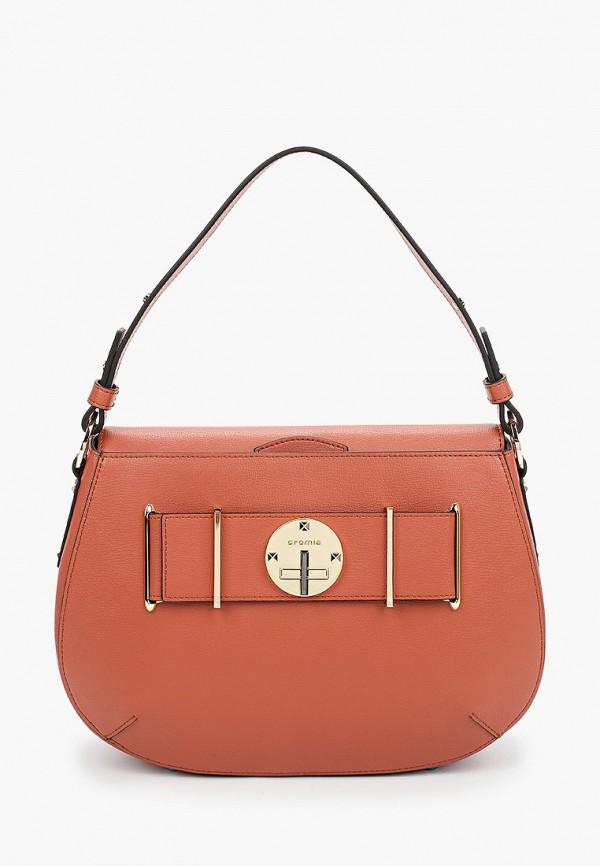 женская сумка с ручками cromia, коричневая