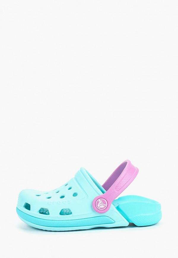 сабо crocs для девочки, голубое