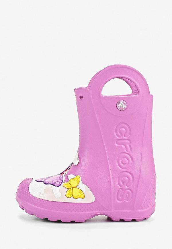 резиновые сапоги crocs для девочки, розовые