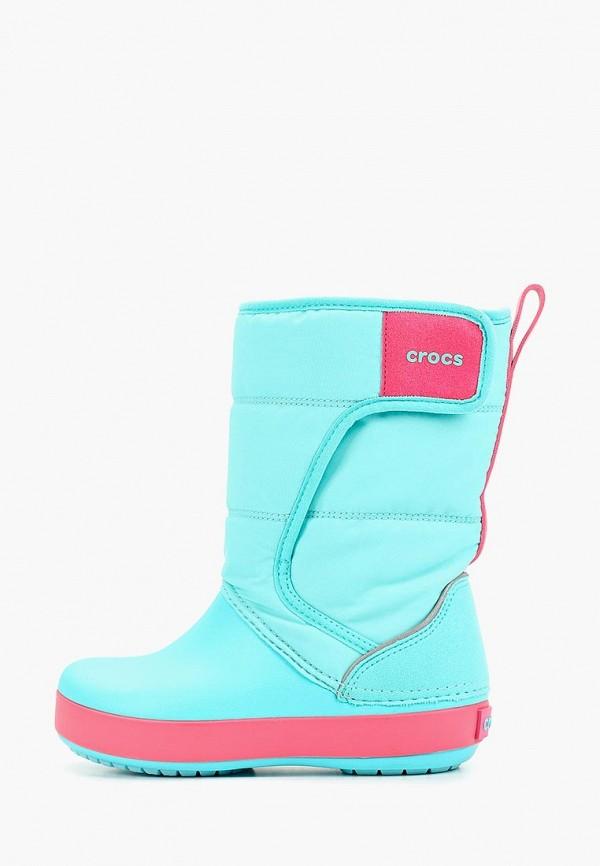 дутики crocs для девочки, голубые