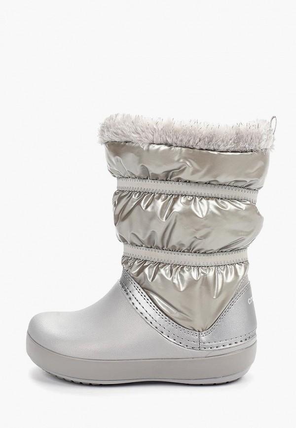 дутики crocs для девочки, серебряные