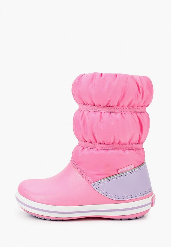 дутики crocs для девочки, розовые