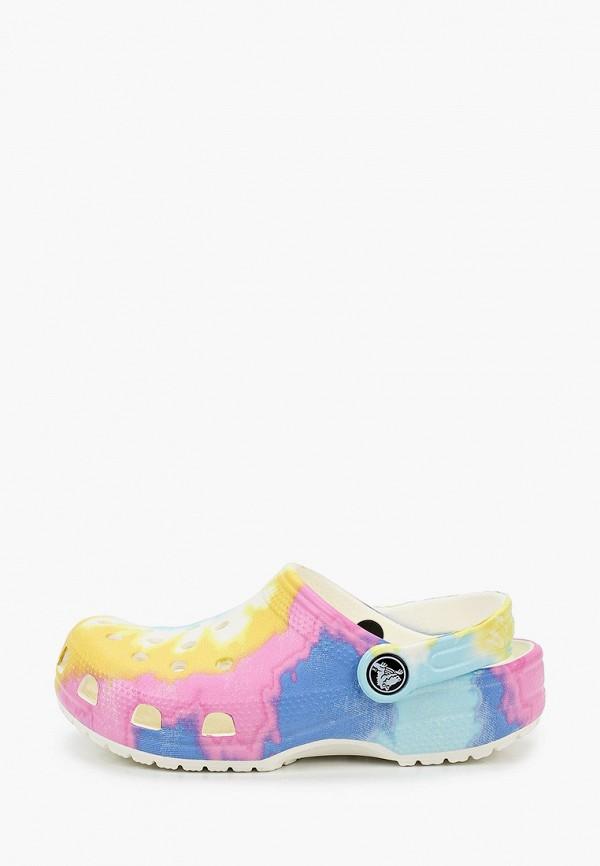 сабо crocs для девочки, разноцветное