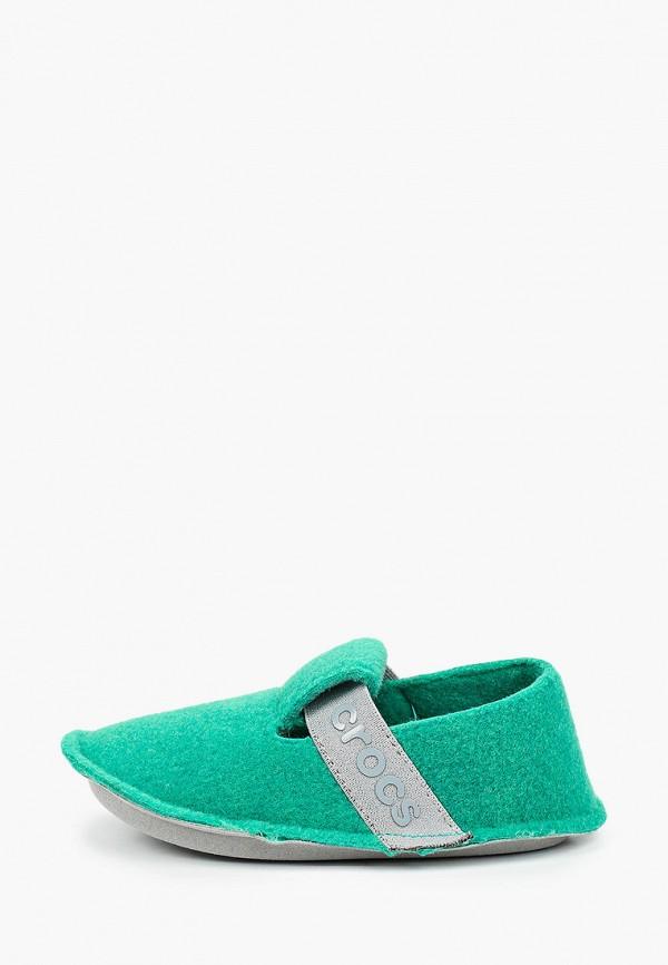 тапочки crocs малыши, зеленые