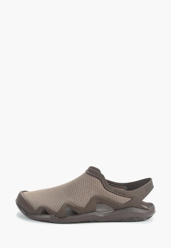 мужские сандалии crocs, коричневые