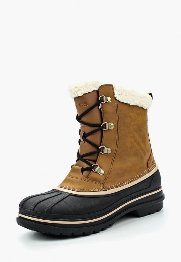 мужские ботинки crocs, коричневые