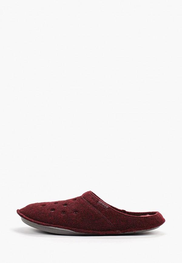 женские тапочки crocs, бордовые