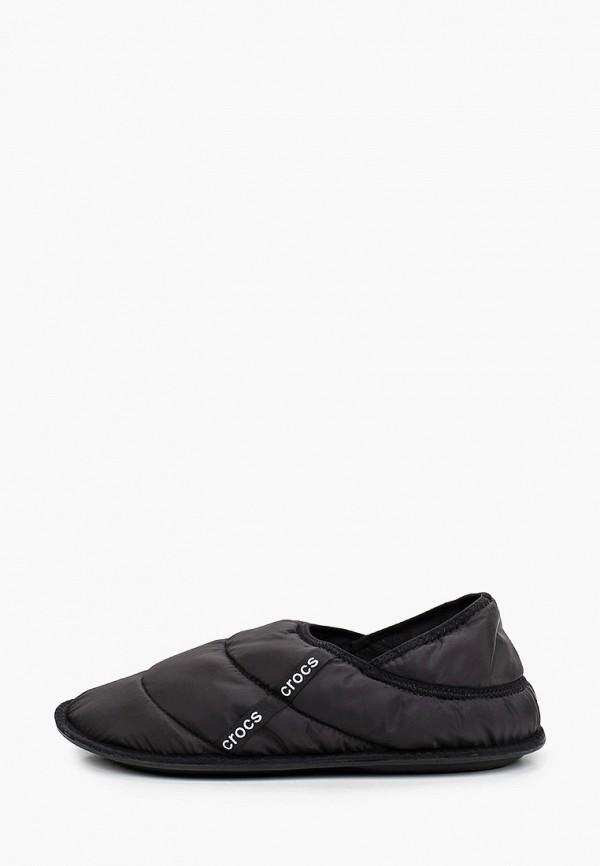 женские тапочки crocs, черные